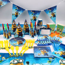 145pcs/lot Minion Children Birthday Party Decorations Kids Party Supplies Birthday Disposable Tableware Sets Kids Party Favors
