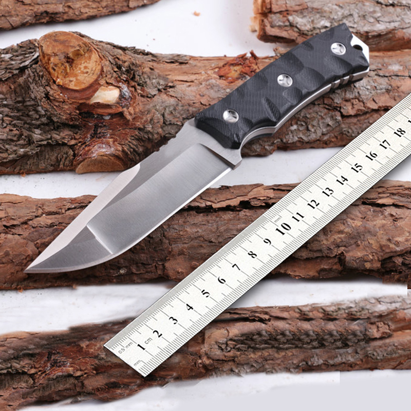 Free shipping D2 STEEL Camping Hunting Tactical Survival Knife Fixed Blade G10 Handle Two Sharp Edge Two kinds of color handle lcm66 hunting knife tactical small fixed knives d2 steel g10 handle survival knife f0x camping portable outdoor straight knife