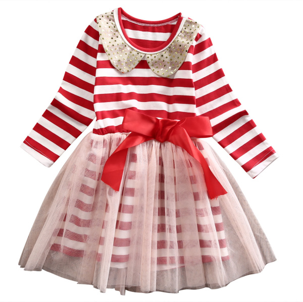 Christmas Stripes Kids Girls Dress 2017 Spring Autumn Princess Red Long Sleeve O-neck Sequins Tulle Tutu Dresses Party Costume