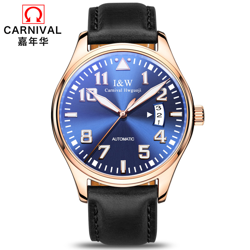 Skeleton watch CARNIVAL Original brand Luminous Watch men Fashion Automatic Watch With Leather band Calendar Mechanical watches все цены