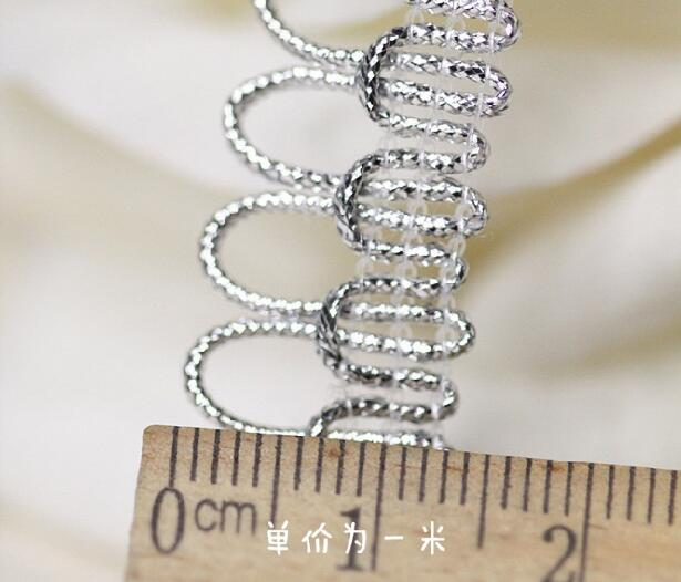 1 2CM Wide Luxury Embroidery Silver flower lace fabric trim ribbon DIY sewing applique collar cord guipure wedding dress decor in Lace from Home Garden