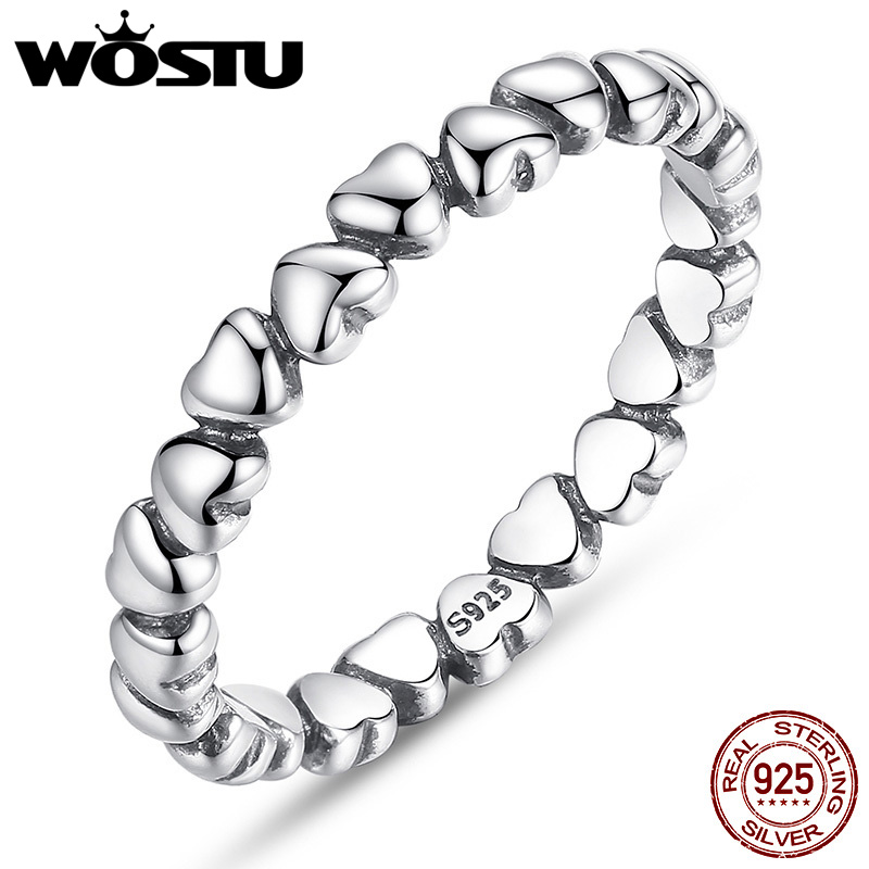 WOSTU Fashion Authentic 100% 925 Sterling Silver Love Heart Wedding Rings For Women Fine European Jewelry Gift wostu new arrival real 925 sterling silver luminous glow rings for women authentic fine jewelry gift zbb7640