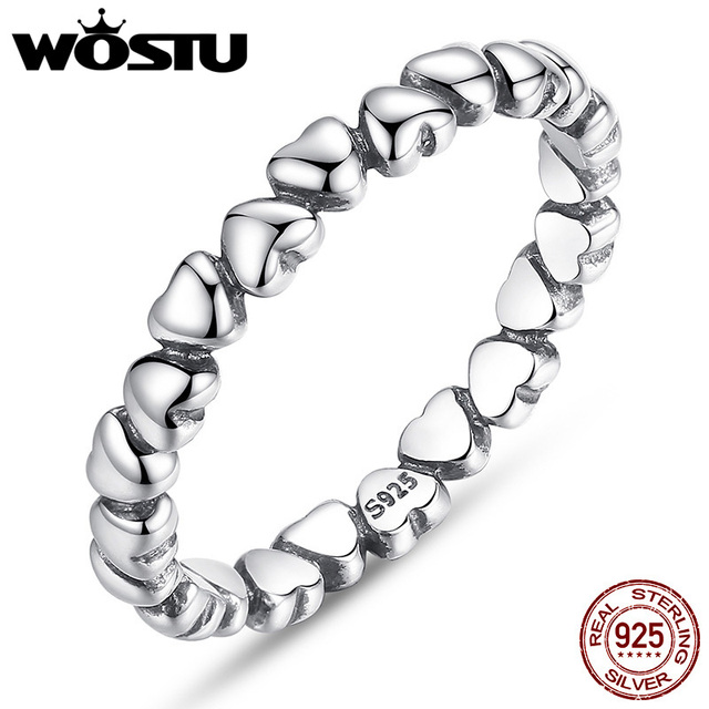 WOSTU Fashion Authentic 100% 925 Sterling Silver Love Heart Wedding Rings For Wo