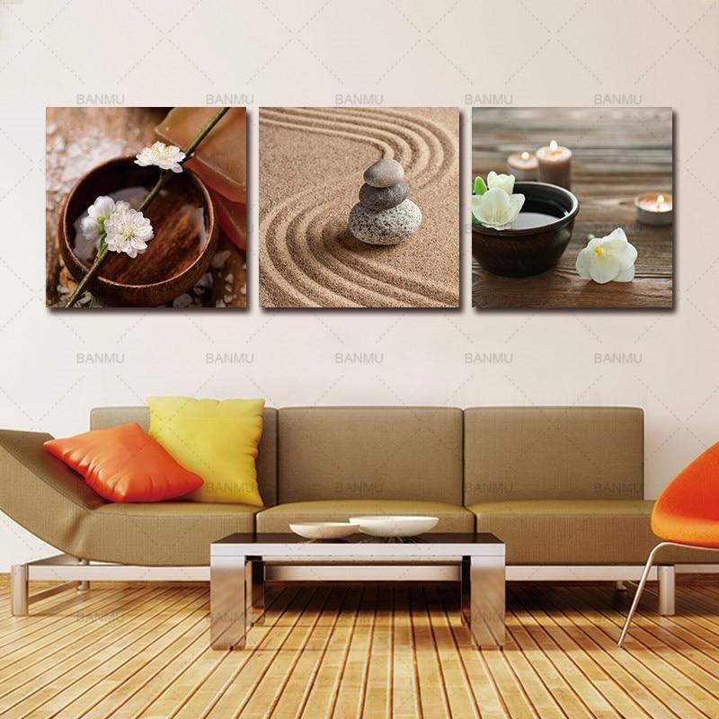 Art Décor: Zen Canvas Art,Art Decor Modern Flower In Bowl With Water