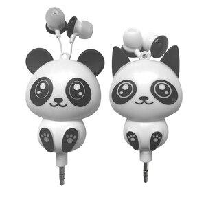 Image 5 - Kebidu 3.5mm 유선 귀여운 팬더 개폐식 이어폰 이어폰 스마트 폰용 헤드폰 헤드셋 어린이를위한 MP3 생일 선물