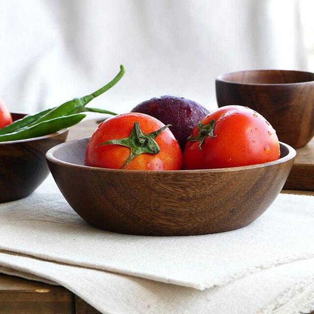 high quality kitchen wooden salad bowls 2 sizes large small acacia wood bowl set fruit food - Wooden Salad Bowl Set
