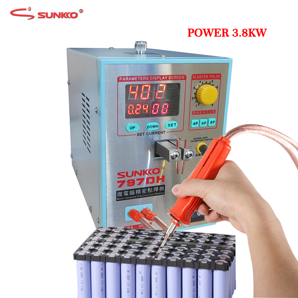SUNKKO 797DH Battery Spot Welding Machine 3.8KW High Power Welding Thickness Up To 0.35mm Pulse Spot Welder With 70B Welding Pen