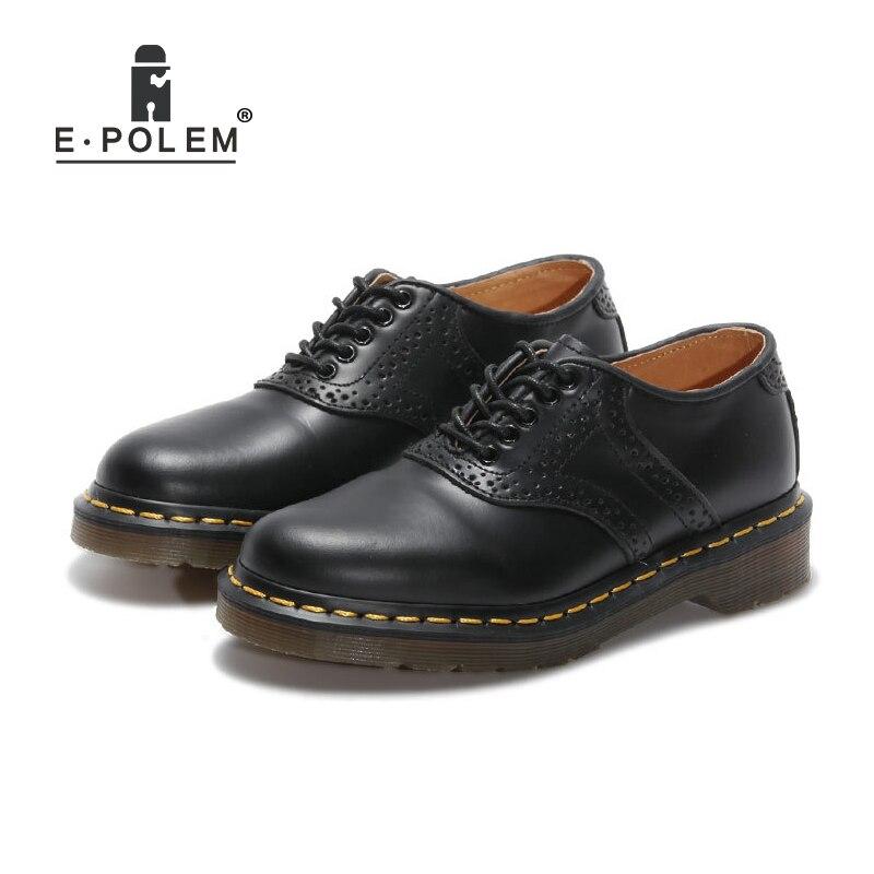 De Martin Basse EPolem Nouveau Sculpté À Véritable Chaussures Derbies Lacets Noir Cuir Style Tige Plat Gentleman 2018 En Angleterre Black UzVpMqSG
