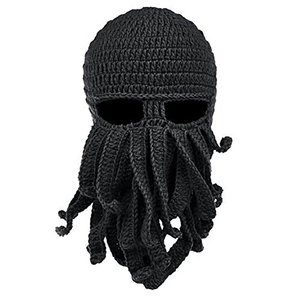 Image 2 - Winter face mask hand woven mask snowboard octopus wool balaclava funny hat warm bonnet homme cap face mask winter casual cap