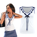 S-3XL Summer 2016 Women Tank Tops Sexy V-Neck Bow White Black Blue Slim Tee Shirt Plus Size Ladies Sleeveless Tops Blusas Tshirt