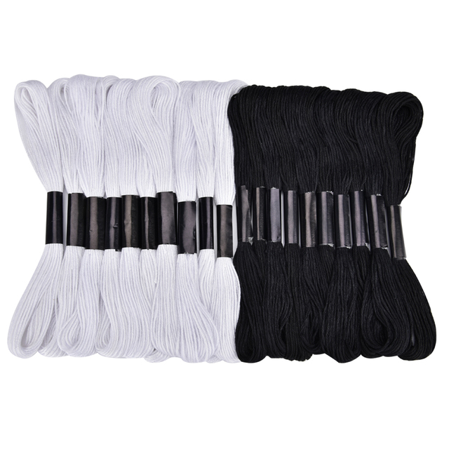 20pcs Black and White Cross Stitch Thread Embroidery Floss Skeins Black Color Hand Sewing Threads DIY Craft Needlework Accessory