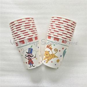 Image 3 - 80pcs/lot Cartoon Creative Circus Theme Birthday Party Tablewear Set Disposable Napkins Plates Cups Set Circus Party Supplies