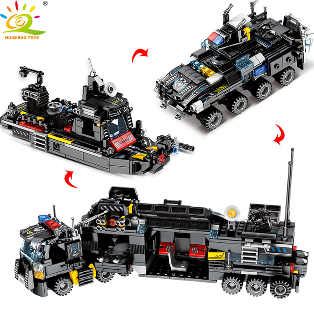 HUIQIBAO 695PCS 8in1 SWAT Police Trucks Car Building Blocks City Helicopter Ship Bricks police Figures Children Toys