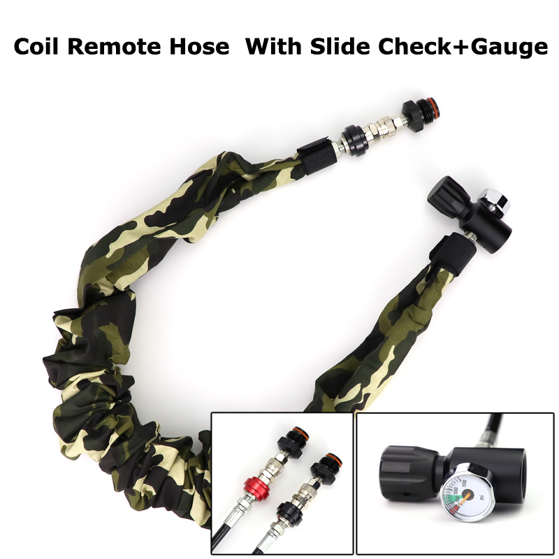 New Paintball Air Gun Airsoft PCP Coil Remote Hose (2.5M) With Slide Check Quick Disconnect And 1500PSI Gauge Camo Cover