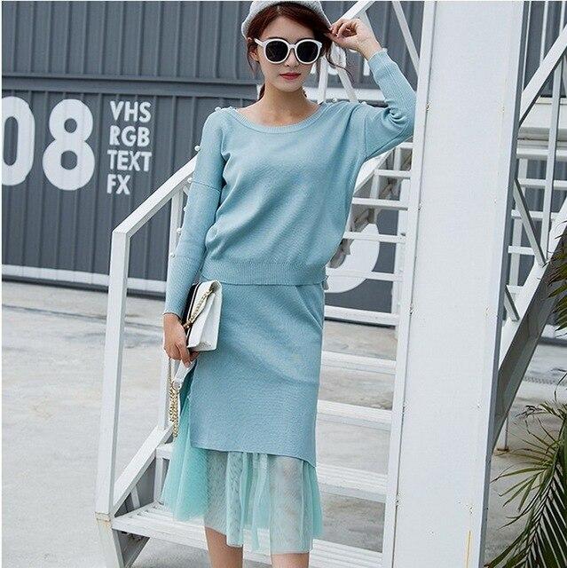 Autumn Winter Women Female Runway Skirt Dress Knitted Woolen Skirt Suits Set Dress Sweater Slim Suits Skirt 2 Pieces Suits Skirt