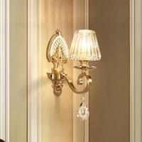 Роскошный проект Хрустальная настенная лампа с абажуром бра спальня медный настенный светильник гостиная подсветка стен в коридоре лестни