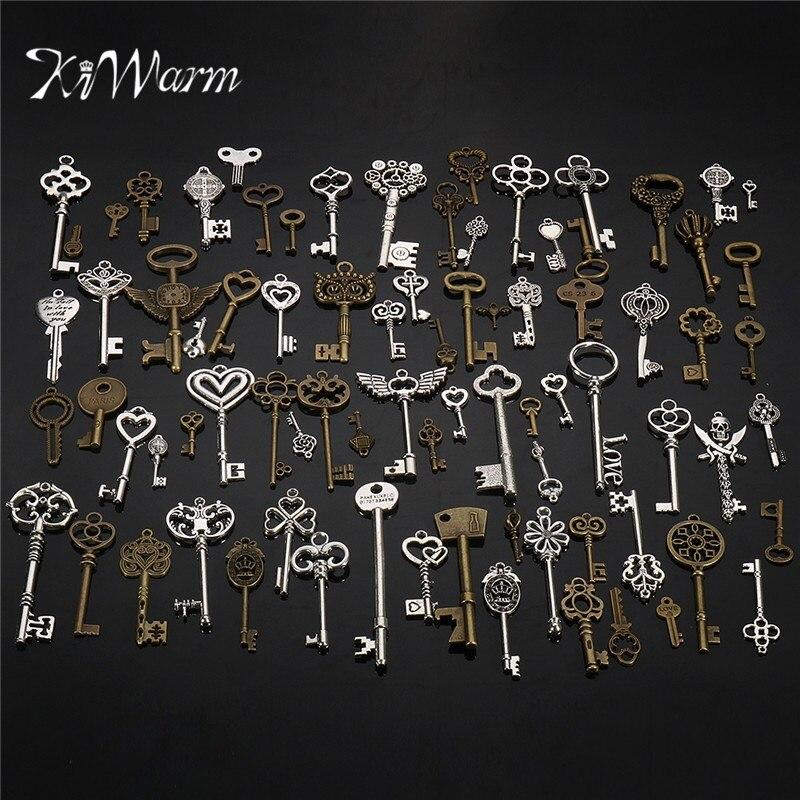 KiWarm Retro 80pcs Antique Vintage old look Ornate Skeleton Keys Lot Pendant Fancy Heart Necklace Hanging Decor DIY Craft Gifts
