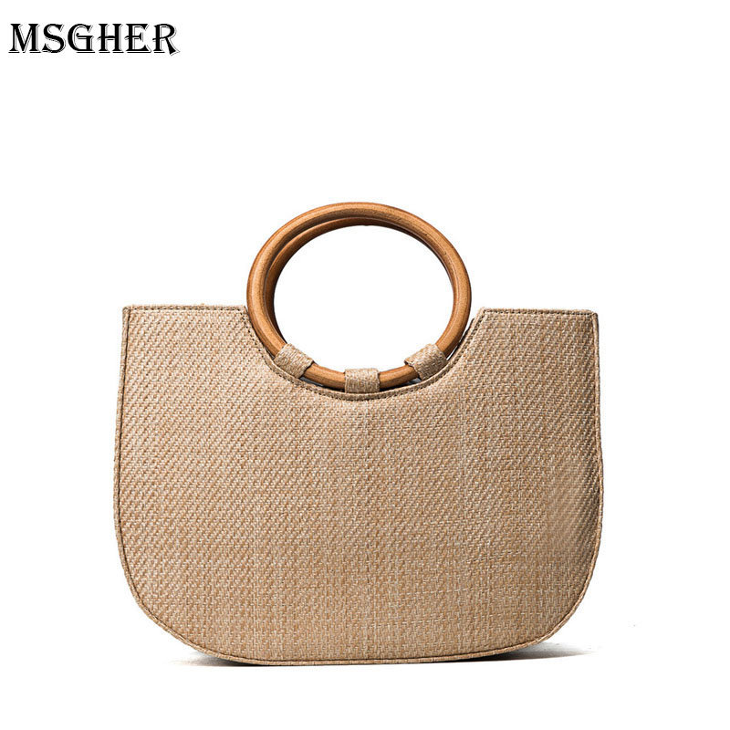 M.S Casual Tote Wood Handle Handbags For Women Summer Office Lady Elegant Crossbody Bags Fashion Woven Quality Straw Bags SW062