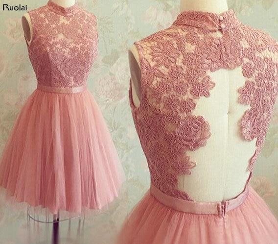Kurzes kleid mit spitze rosa