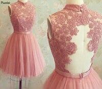 Tanie 2016 Gorąca Sprzedaż Wysoka Neck Specjalne Okazje Suknie Różowa Suknia Balowa Koronka Aplikacja Prom Krótka Sukienka Prawdziwe Zdjęcia (YASA-1111)