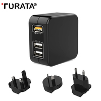 TURATA 3 Ports Travel USB Charger Wall Mobile Phone QC 3 0 Quick Charge 3 0