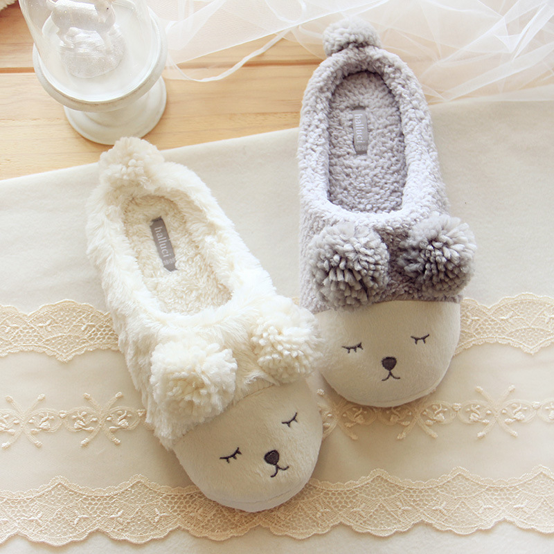 2017 Fashion Plush Women Indoor Slippers Warm Soft White Grey Indoor/Home Female Slippers Shoes Plus Size Autumn Winter tolaitoe autumn winter animals fox household slippers soft soles floor with indoor slippers plush home slippers