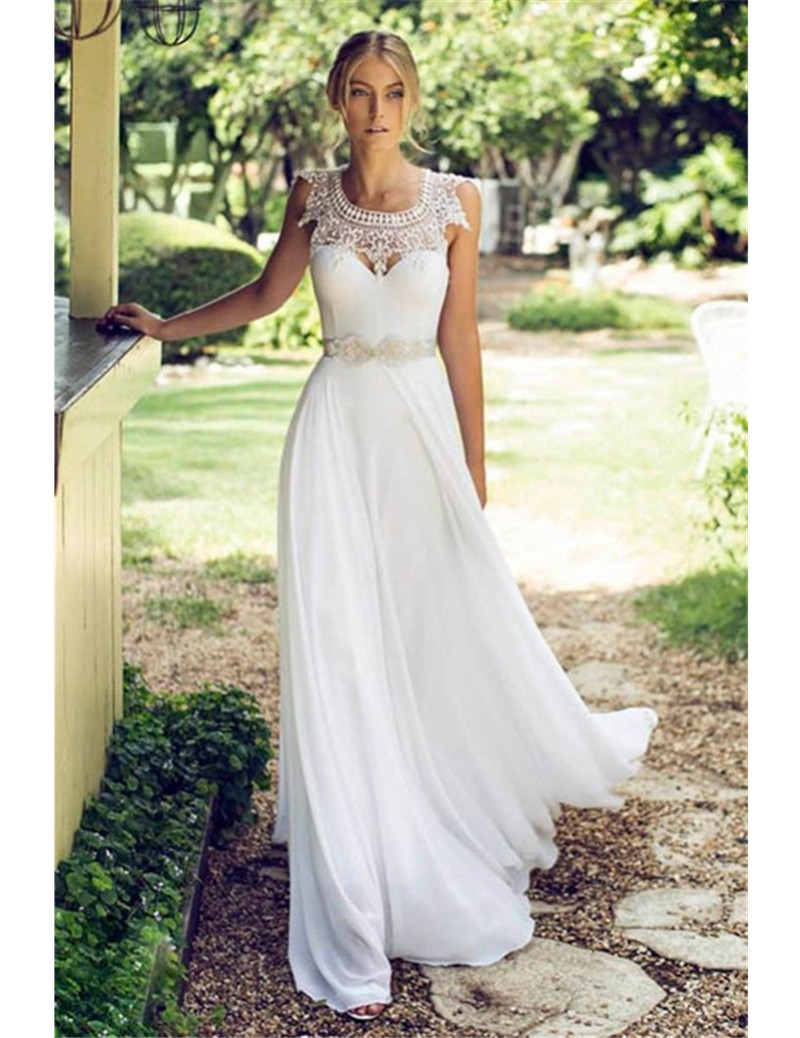 MZY0217 New White/Ivory Baroque Style Chiffon Lace Beach Wedding Dress ...