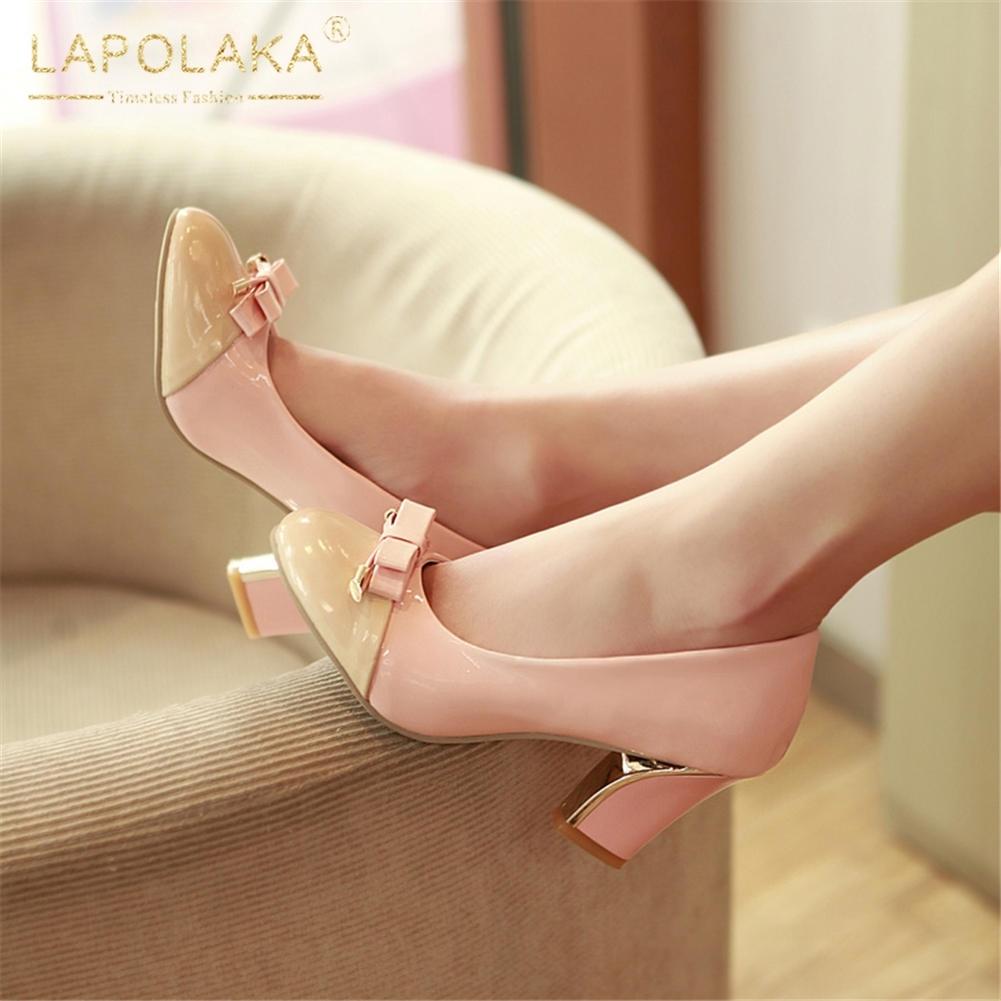 32f1ca48a1fd Offre Partie Taille Chaussures Nouveautés Pompes Femme Grande 43 bleu rose  Talons Bowtie Spéciale Doux Slip Lapolaka Carré ...