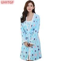 UHYTGF Long sleeves Two pieces set warm pajamas Lady Spring Autumn Two pieces Flannel Dress Sexy Sleepwear Nightdress Homewear67