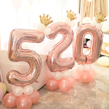 30inch Number 1 2 3 4 5 6 7 8 9 Foil Air balloon Mini Crown Set Baby Shower Birthday Party Balaos Party Decoration image