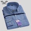Мужская Классическая Клетчатую Рубашку 2017 Весна Новый Бренд отложным Воротником Slim Fit Бизнес Мужчины Платье Рубашки Большой размер S-4XL N544
