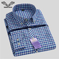Men's Classical Plaid Shirt 2017 Spring New Brand Turn-down Collar Slim Fit Business Men Dress Shirts Big Size S-4XL N544