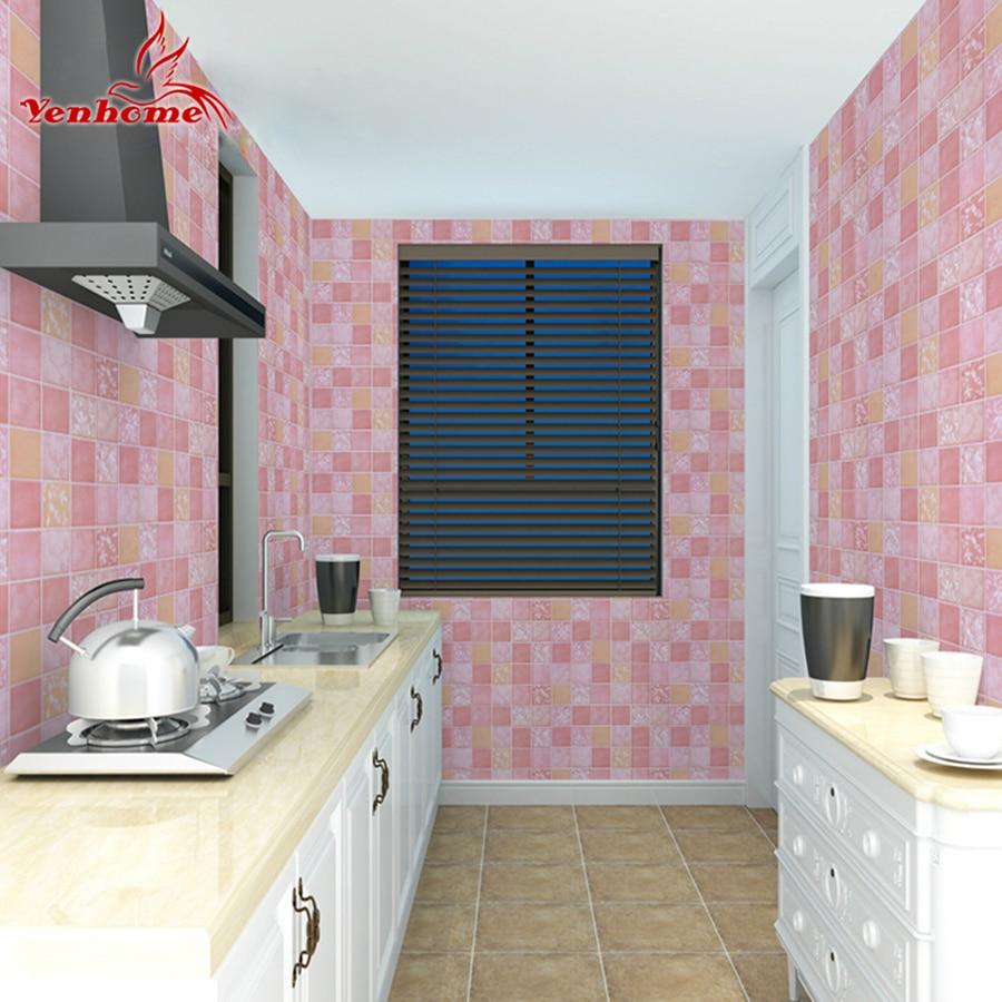Waterproof Bathroom Walllpaper: Vinyl Oilproof Kitchen Decor Wall Stickers PVC Waterproof