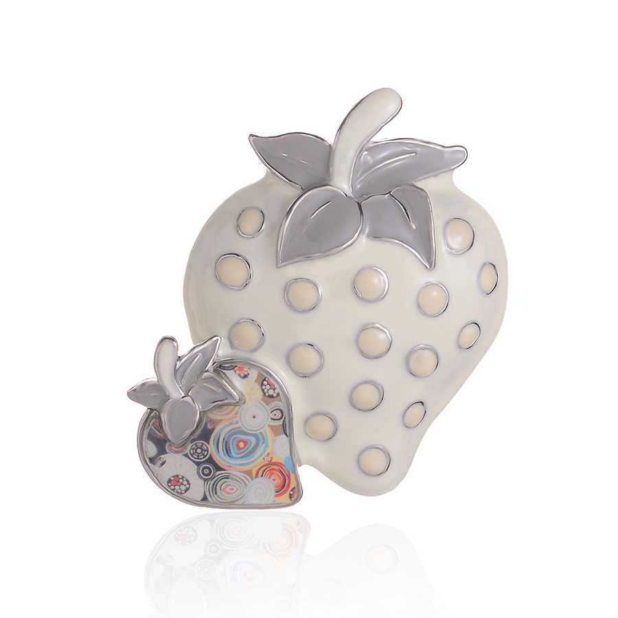 Lucu Stroberi Bros untuk Wanita Enamel Seng Paduan Kerah Gaun Bros Pins Lencana Kecil Modis Perhiasan Harga Grosir