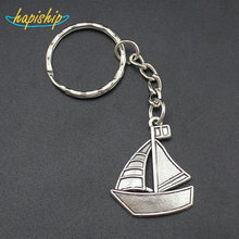 Hapiship 2017 New Women/Men's Fashion Handmade Vintage Silver Sailing Key Chains Key Rings Alloy Charms Gifts YSCA01(China)