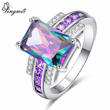 lingmei New 8*12 Big Multicolor & Blue Purple White CZ Silver Color Ring Size 6 7 8 9 Luxury Elegant Women Jewelry Wedding Party
