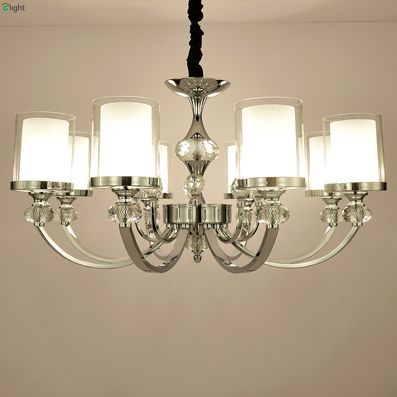 Modern Lustre Crystal Led Chandeliers Lighting Chrome Metal Dining Room Led Pendant Chandelier Lights Led Hanging Light Fixtures modern led crystal chandelier lights living room bedroom lamps cristal lustre chandeliers lighting pendant hanging wpl222