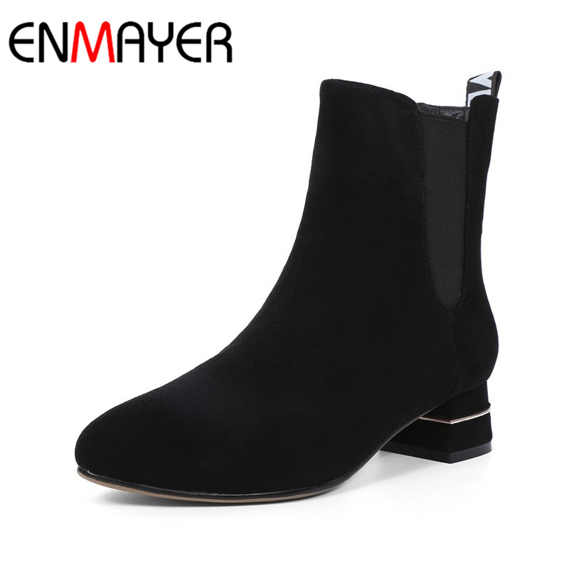 ФОТО ENMAYER Ankle Boots for Women Spring/Autumn and Winter Boots Platform Woman Big Size 34-43 Round Toe Motorcycle Boots Shoes