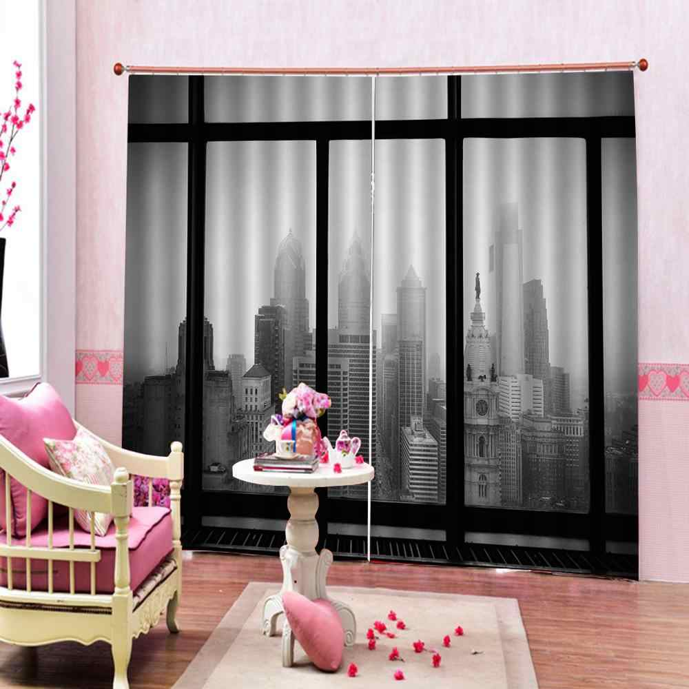 Polyester Set with Hooks 3d curtains night city Living room Bed room Office Hotel Home High-precision Shade