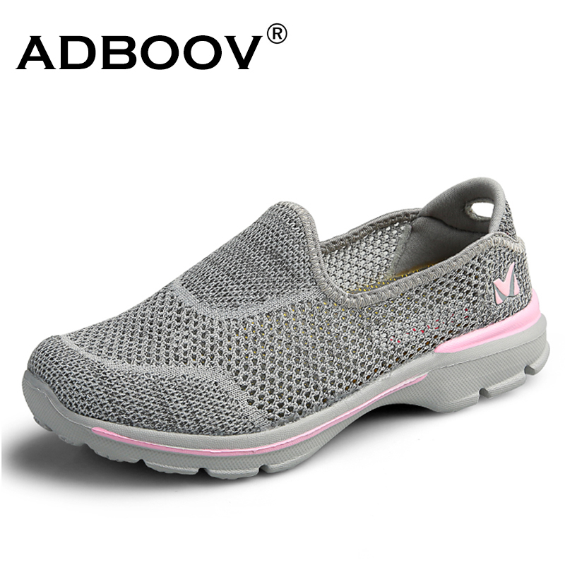 ADBOOV Slip On Sneakers Women Knit Upper Summer Breathable Shoes Lightweight Casual Flat Shoes Women Walking Shoes instantarts cute cat puzzle casual air mesh flat shoes women teen girl summer breathable slip on walking sneakers adult zapato