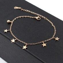 Venta caliente Cinco Estrellas Tobillera Campana de Oro Rosa de Color de Acero Inoxidable