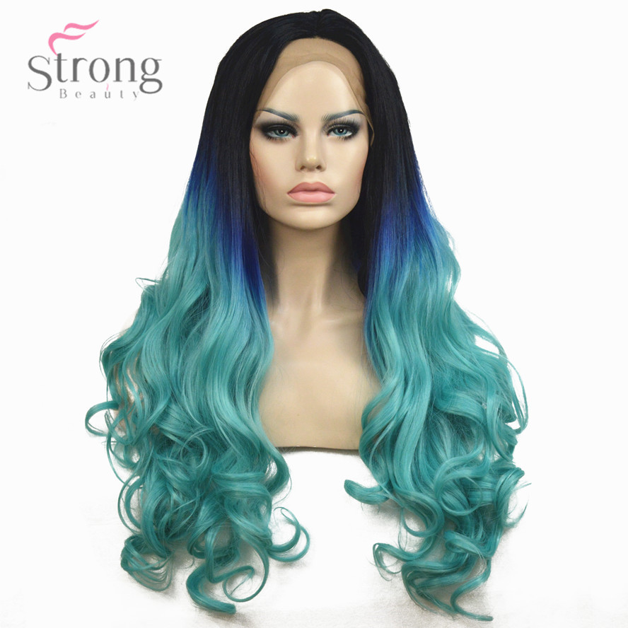 StrongBeauty Women s Lace Front Wigs Ombre Light Blue Long Wavy Hair Synthetic Heat Resistant Fiber