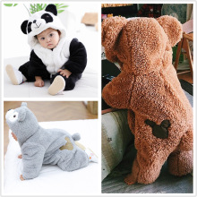 Hot Cute Plush Bear Panda Baby Pajamas Set Autumn Winter Thicken Bodysuits For Boys Girls Home Clothing Sleepwear Clothes
