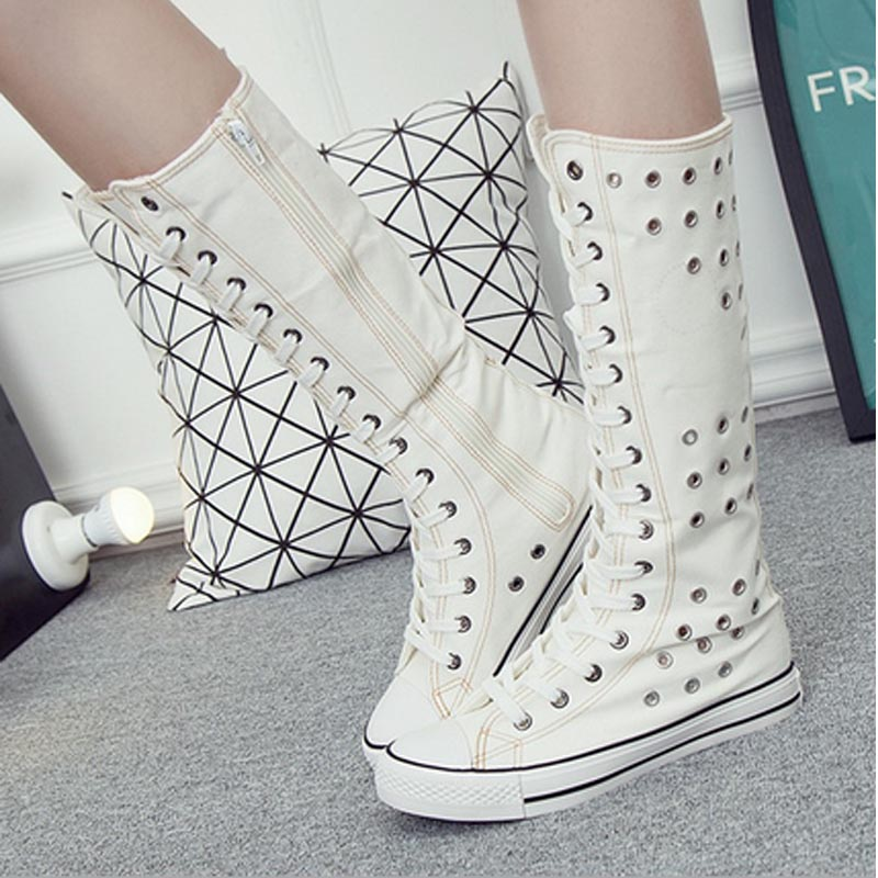 Fashion Women Canvas Knee High Boots Flats Lace up Zip high top woman breathable Ladies boots Dance Shoes zapatos mujer Big Size large size 8cm high 2016 women casual canvas shoes woman platform wedges high top with zippers ladies zapatos mujer espadrilles