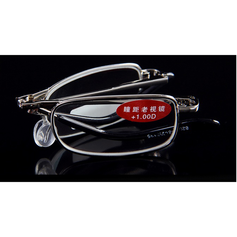 De Prata de alta Qualidade Portátil Dobrável Óculos de Leitura Com Caso  Unisex Liga Revestidos Lente Dobrável Óculos Mulheres Óculos A1 em Óculos  de leitura ... cac154b43c