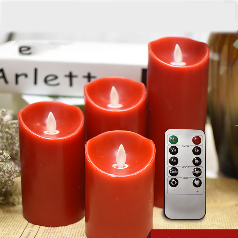 Wireless Led Red Candle Made By Paraffin Wax For Holiday party, Christmas,Halloween Decoration,Bars,KTV timer remote led light