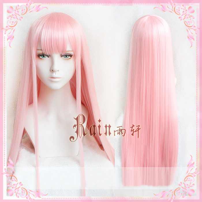 Anime DARLING In The FRANXX 02 Zero Two 100cm Long Pink Synthetic Hair Cosplay Costume Wig + Horn Hairband + Wig Cap
