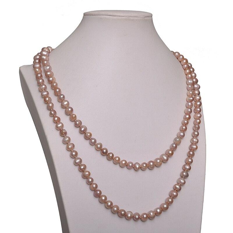 Belle perles roses perles 7-8mm taille pour 2 rangées de perles collier 48 pouces gemme pour dames élégantes cadeaux H644