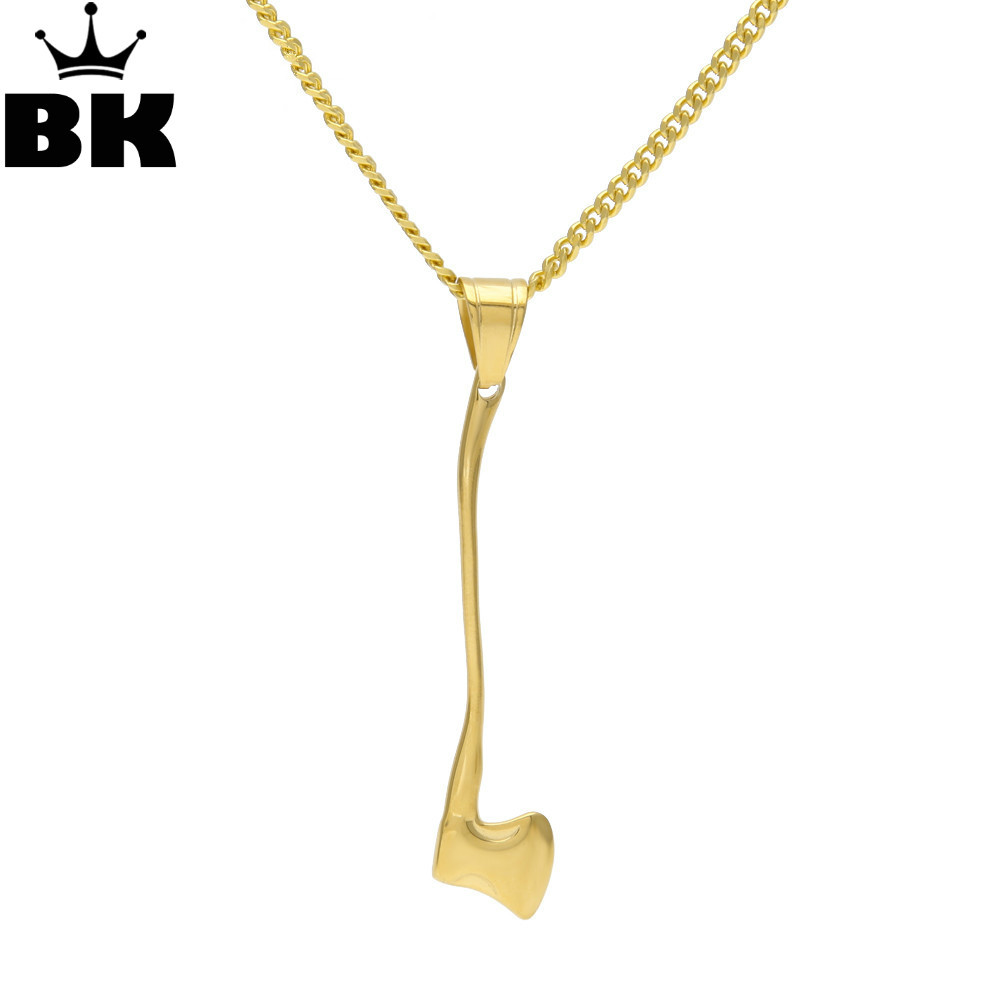 Hip Hop Gold Axe Pendnat Necklace Lumberjack hatchet tool hunter Zombie Warrior Collar Necklace With 3mm 60cm Cuban Chain