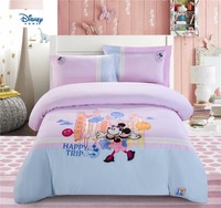 disney minnie mouse duvet covers set cartoon bedspread kids 100% cotton embroidered bedroom decor queen size home textile 4pc